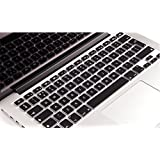 """Se7enline Unique Ultra Thin Silicone Keyboard Cover Black Keyboard Skin Protector (Europe Layout UK Version) for All MacBook Air 13"""", MacBook Pro 13"""" 15"""" 17"""" with Retina Display, Black"""