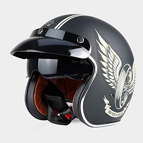 SXC Jethelm Helm Motorradhelm Retro-Moto-Helm mit Sonnenblende Vintage Motorrad Motorrad Halbhelm Elektro-Fahrrad-Schutzhelm, DOT/ECE-Zulassung für Männer und Frauen, 55-61 cm