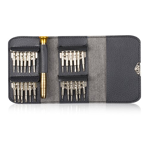 isoto 25in 1Multifunktions-Präzisions-Schraubendreher-Set Case Mini Repair Tool Kit aus Leder für Uhren Laptop Handy Iphone Ipad Gläser Schlüsselanhängerform PC Xbox Kameras Wartung
