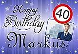 140x96 cm XL Geburtstagsbanner für Männer zum runden oder halbrunden Geburtstag mit Foto, Name und Alter personalisierbar - Geburtstags-Banner - Happy Birthday GEB07M