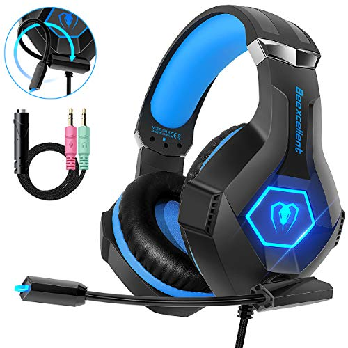 Beexcellent Cuffie Gaming per PS4 Xbox One, Multi-Platform Riduzione del Rumore Cuffie con Microfono Confortevole Stereo Bassi Profondi 3,5 mm LED per PC, Laptop, Mac, Smart Phone