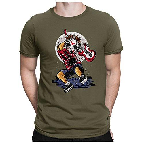 PAPAYANA - Mini-Jason-Guitar - Herren Fun T-Shirt - Halloween Es Horro Maske Saw Kostüm Clown Scream - L ()