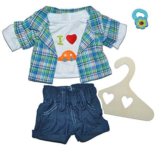 3 tlg. Set Puppenkleidung Größe 35 - 45 cm - Hose / Shorts + Pullover + Hemd mit Auto blau grün - Karo Kariert kurze Kleidung Bekleidung Sommerkleidung für Jungen (Land Hemden Karierte)