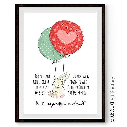 umen - einzigartiger mit Wunschnamen personalisierbarer Kunstdruck von ABOUKI - ungerahmt - im DIN A4 oder DIN A3 Format auf hochwertigem Fine Art Papier mit Motiv Hase und Ballons (Einzigartige Ballons)
