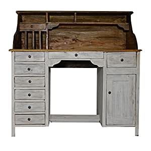 bureau table secretaire style meuble ancien bois blanc. Black Bedroom Furniture Sets. Home Design Ideas