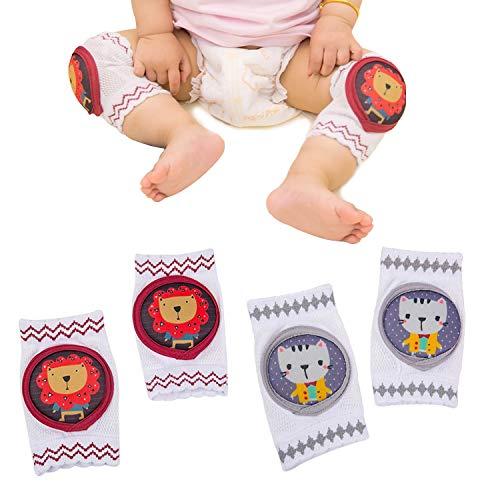 NWLYF Baby Krabbeln Baby Knieschoner und Baby Socken mit Gummipunkte Anti-rutsch für Baby Krabbelschoner Krabbelhilfe Knieschützer 6-36 Monate8 -