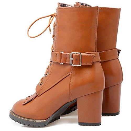 TAOFFEN Damen süß und retro Blockabsatz Schuhe Schnürung Knöchel Stiefel Reißverschluss Martin Stiefel mit Schnalle Gelb