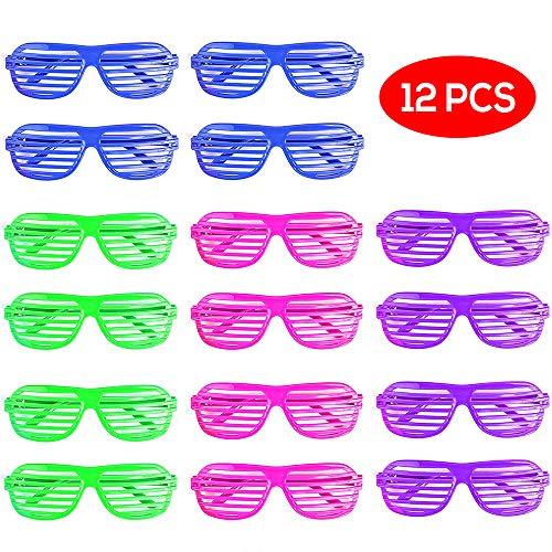 Bramble Gafas de Sol de persiana para Fiestas. 4 Colores Surtidos. Paquete DE 12. Perfecto para Niños, Bolsas de Regalo y Fiestas