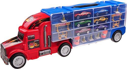 Autotransporter-Spielzeug für Jungen und Mädchen TG664 - Cooler Spielzeug-LKW mit 12 Autos und verschiedenem Zubehör von ThinkGizmos (markengeschützt)