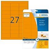 HERMA 5141 Neon-Etiketten DIN A4 (63,5 x 29,6 mm, 20 Blatt, Papier, matt) selbstklebend, bedruckbar, permanent haftende Farbetiketten, 540 Klebeetiketten, neon-orange