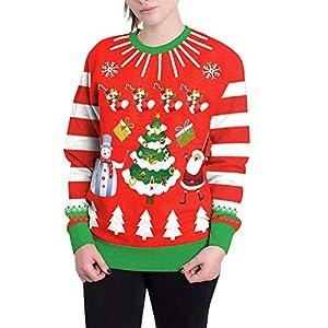 Damen Weihnachtspullover Rundhals Langarm Christmas Sweater 3D Weihnachtsbaum Drucken Sweatshirt Neuheit Top