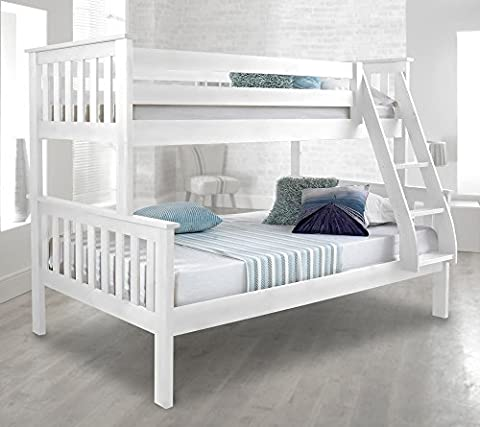Happy Beds Atlantis White Finished Solid Pine Wooden Triple Sleeper Bunk Bed With 2x Memory Foam