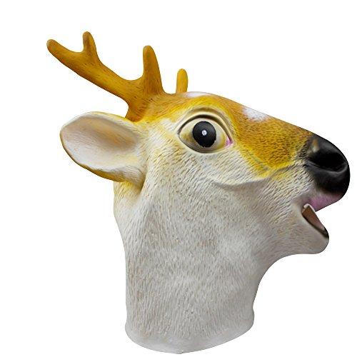 ABBQT, máscara de silicona para cabeza de animal, juego de cabeza de animal de silicona, máscara para Halloween, máscara para cabeza (A2) ciervo sika
