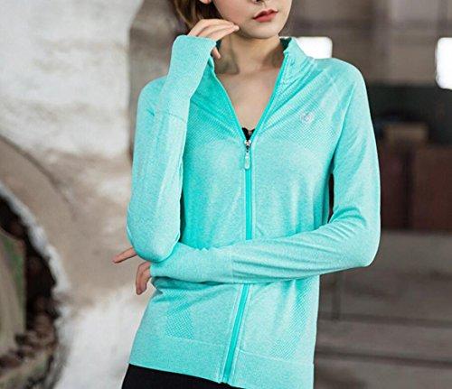 Suzone maglia a maniche lunghe da donna con zip giacca da running giacca da running yoga con cerniera, tasche invernale grigio Green