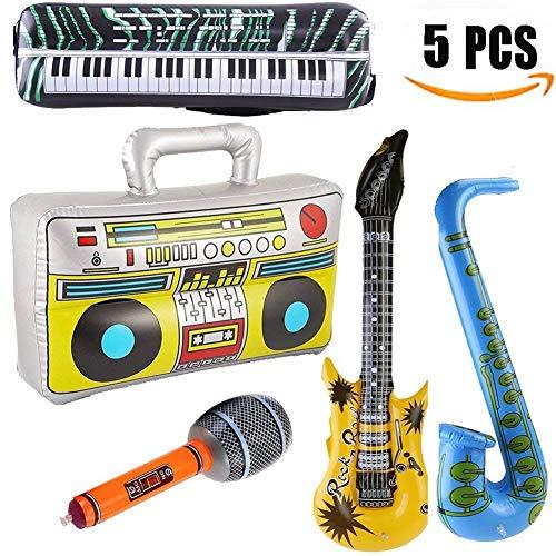 Yojoloin 5 STÜCKE Inflatables Gitarre Saxophon Mikrofon Boom Box Musikinstrumente Zubehör Für Party Supplies Party Favors Ballons Zufällige Farbe (5 - Bilder Von Kostüm Kinder