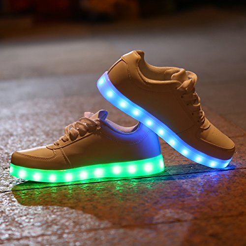 DoGeek - Chaussure Led Lumineuse - Garçon Fille et Homme Femme -7 Couleurs LED Lumière- USB Rechargeable Blanc