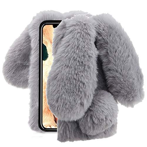 Aearl Für iPhone XR Hülle Plüsch Wolle Flaumig Villi Pelz Hasenohren Case, TPU Silikon Weich Bling Kristall Diamant Bunny Hase Haare Schwanz Cover für iPhone XR 6.1 Zoll,Grau