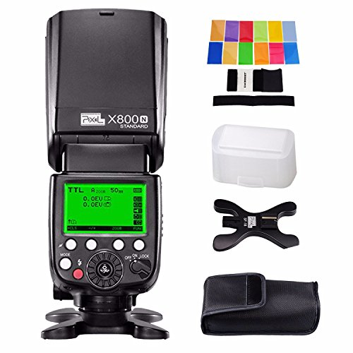 Pixel X800N Standard i-TTL Flash High for Nikon DSLR, Speed Sync 1/8000S Speedlite Flashgun External Speedlite with EACHSHOT Color Filter