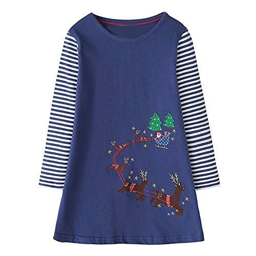 VIKITA Mädchen Sommer Herbst Streifen Baumwolle T-Shirt Kleid EINWEG JM7753 4T 4t Kleid