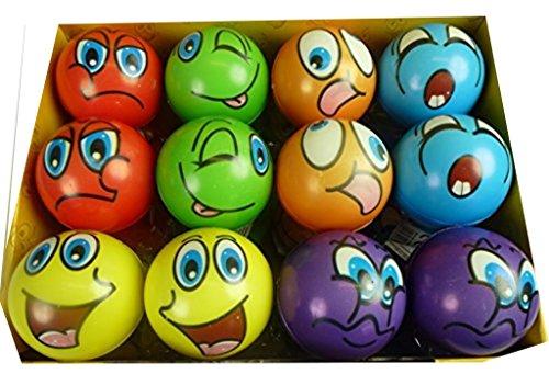 Preisvergleich Produktbild 12 Stück bunte Grimassenbälle, ca. 6 cm Durchmesser, Flummi, Anti Stressball, Wurfball, Knetball, Knautschball aus Schaumstoff