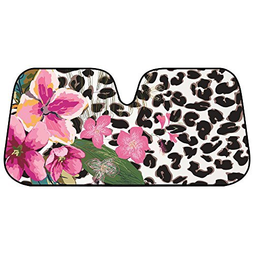 BDK Flower Leopard Sunshade - Pink Hibiscus Orchid - Folding Accordion with Anti Glare Sun Shade by BDK