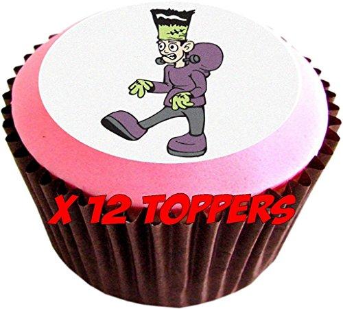 (12 X FRANKENSTEIN 38mm (1.5 Inch)PRE CUT CUP CAKE TOPPERS Essbare Tortendekoration Reis Papier Kuchen Dekoration (1))