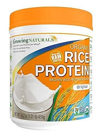 Naturals croissantes de riz brun biologique isolat de protéines en poudre, d'origine, de 16,2 oz (459 g) 3.2 x 5.6 x 6.5 inches