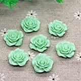 100pcs 20mm Mix Colors Resin Rose Flower Flatback Cabochon DIY Scrapbooking Decorative Craft Making