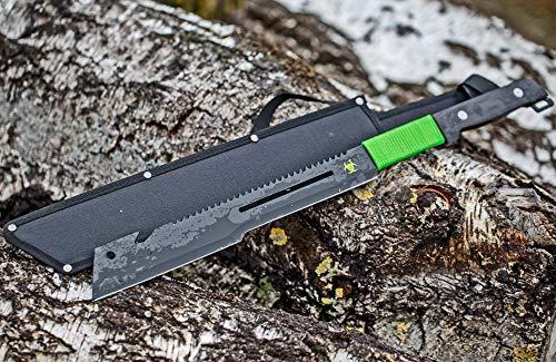 Machete Busch-Messer Jagd-Messer Metall 60cm Schwarz Klinge Scharf Grünes Band als Hand-Schutz Säge-Rücken und Seil-Cutter Hülle Dead Zombie Knife Sword