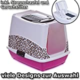 Katzentoilette Haube Safari braun - Unterschale pink