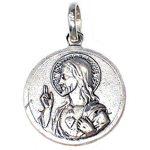Medalla plata ley 925m Escapulario Corazón de Jesús [AB4944]