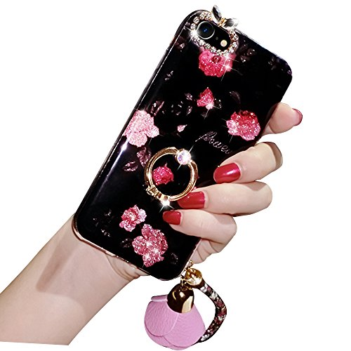 iPhone 6s Hülle, iPhone 6 Hülle, Sunroyal TPU iPhone 6 6s Plating Luxus Diamant Bling Shining Strass Finger Case Cover Blume Ultra Dünn Silikon Weich Crystal Handyhülle mit Lanyard Kratzfeste Passgena blume