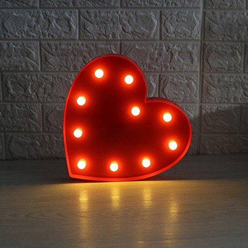 LED Herz Form Nachtlicht,Licht Festzelt Zeichen Tisch Lampen Nachtlicht Heart Wand Decor innen batteriebetrieben Bett für Weihnachten Geburtstag Hochzeit Empfänge Party Home Decor(Rot) (Led-zeichen Led-licht)