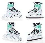 2in1 Schlittschuhe Inline Skates Inliner Raven Profession White/Green verstellbar