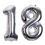 SMARCY Ballon pour Le 18ème Anniversaire Décoration DE 18 Ans Grands Chiffres 1 et 8 (Argenté)