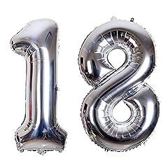 Idea Regalo - SMARCY Palloncini 18 Anni Palloncino per la Decorazione del 18 ° Compleanno (Argento)