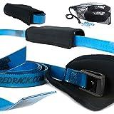 ShredRack Spanngurt Premium mit Klemmschloss für Crossfit/Sport - 2 Stück Haltegurte Befestigungsriemen mit Tasche (2m Länge, Blau, 200 Dan)