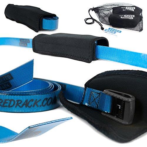 SHRED RACK ShredRack® Spanngurt Premium mit Klemmschloss für Crossfit/Sport - 2 Stück Haltegurte Befestigungsriemen mit Tasche (2m Länge, blau, 200 daN)