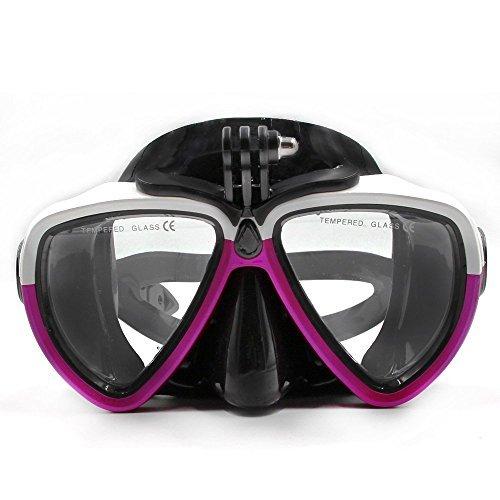 TELESIN amovible en verre de plongée en silicone avec support à vis Combinaison de plongée masque tuba de plongée Lunettes de natation pour caméra de sport GoPro HD Hero 233+ 4 White&Red