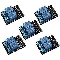 Gaoxing Tech. Módulo de relé de 2 canales de 5PCS 5V dos con optoacoplador para Arduino PIC AVR DSP ARM