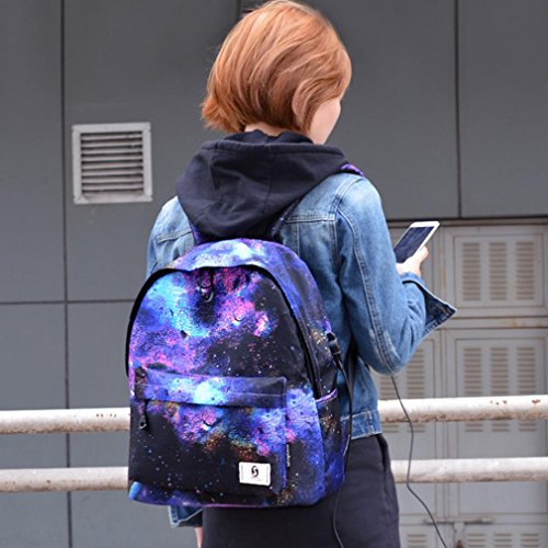 Campus Stil Schule Upxiang Umhängetaschen Rucksack Mode 3D Druck Blasen / Sternenhimmel Muster Rucksack Reiserucksack Rucksack mit USB-Schnittstelle A