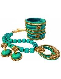 Jazz Fashions Blue Designer Fashion Silk Thread Jewellery Set With Jhumki And Bangles For Women