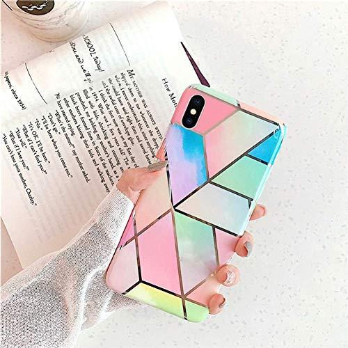 Herbests Kompatibel mit iPhone XR Marmor Hülle Matt Weich Silikon Handyhülle Stein Marble Bling Glitter Sparkle Transparent Schutzhülle Crystal Clear TPU Handytasche,Blau Rosa