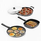 #10: Sumeet Nonstick Essential Combo Set (Multi Snack Maker - 7 Pcs + Grill Pan - 22cm + Grill Appam Patra - 12 Pcs)