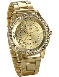 JewelryWe Reloj de Hombre Caballero Clasico Reloj de Acero Inoxidable Retro Vintage Números Romanos, Dorado