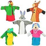 "Set Of 5 Animal Hand Puppets 10"" VINYL HEADS Forest Animals"