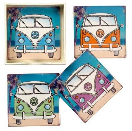 Set of 4 Vintage Style VW Camper Van Ceramic Coasters in Presentation Box
