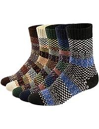 Qincos 5 Pares Calcetines de Lana Suave y Cómodo para Invierno y Otoño Calcetines Térmicos Estilo