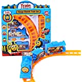 "Toy Train For Kids - Battery Operated Railway 16"" X 10"" Track Set And Car Party For Boys And Girls, Construction Birthday Party Supplies, Mini Toy Cars Gifts For Children - Toys For Toddlers And Kids"