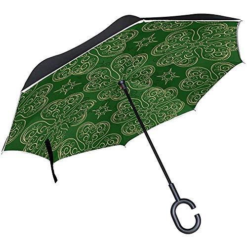 Merle House Happy St Patrick 's Green Shamrock Umbrella Invertito Ombrello, Cappello Elfo Primaverile Ombrello da Golf Manico Antivento C per Auto da Pio
